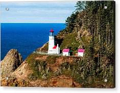 Acrylic Print featuring the tapestry - textile Haceta Head by Dennis Bucklin