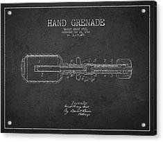 Hand Grenade Patent Drawing From 1916 Acrylic Print by Aged Pixel