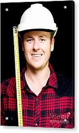 Happy Builder With A Tape Measure Acrylic Print by Jorgo Photography - Wall Art Gallery