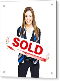 Happy Business Woman Holding Sold Sign Acrylic Print by Jorgo Photography - Wall Art Gallery