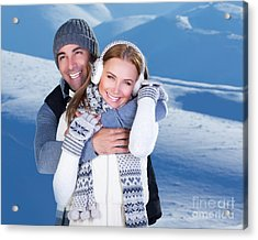 Happy Couple Playing Outdoor At Winter Mountains Acrylic Print by Anna Om
