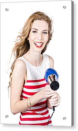 Happy Female Hairdresser Holding Hairdryer Acrylic Print by Jorgo Photography - Wall Art Gallery