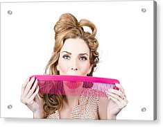 Happy Hairstyle Pinup Woman Smiling With Hair Comb Acrylic Print