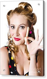 Happy Woman With Clothes Peg Acrylic Print by Jorgo Photography - Wall Art Gallery