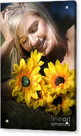 Happy Woman With Sunflowers Acrylic Print