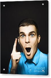 Happy Young Man Pointing At Blank Copyspace Acrylic Print by Jorgo Photography - Wall Art Gallery
