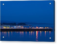 Harbor And Municipal Wharf At Dusk Acrylic Print by Panoramic Images