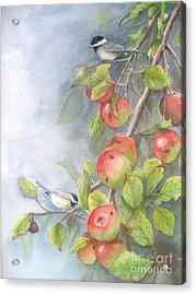 Harvest Chickadees Acrylic Print by Patricia Pushaw