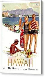Hawaii Vintage Travel Poster Acrylic Print by Jon Neidert