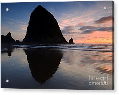 Haystack Reflections Acrylic Print by Mike  Dawson