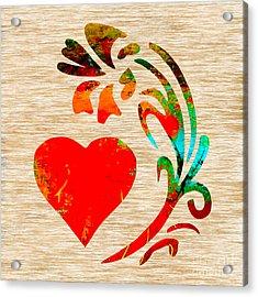 Heart And Flowers Acrylic Print by Marvin Blaine
