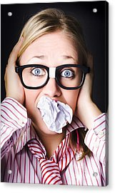 Hectic Business Person Under Stress Overload Acrylic Print