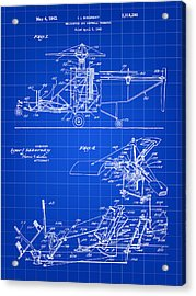 Helicopter Patent 1940 - Blue Acrylic Print by Stephen Younts