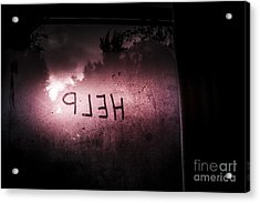 Help Written On A Misty Glass Window. No Escape Acrylic Print by Jorgo Photography - Wall Art Gallery