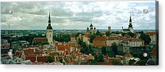 High Angle View Of A Townscape, Old Acrylic Print
