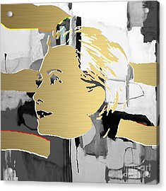 Hillary Clinton Gold Series Acrylic Print by Marvin Blaine