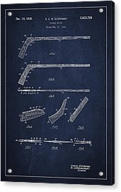 Hockey Stick Patent Drawing From 1934 Acrylic Print