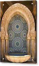 Holy Water Fountain Hassan II Mosque Sour Jdid Casablanca Morocco  Acrylic Print by Ralph A  Ledergerber-Photography