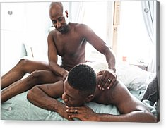 Homosexual Couple Relaxing Togetherness And Sharing A Massage Acrylic Print by Franckreporter