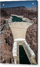 Hoover Dam And Lake Mead During Drought Acrylic Print by Jim West/science Photo Library