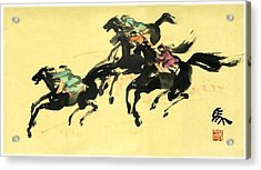 Acrylic Print featuring the painting Horse Racing  by Ping Yan