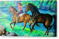 Horse Riding In Lake Acrylic Print by Manuel Cadag