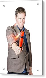 Hostile Male Office Worker Holding Flaming Bomb Acrylic Print by Jorgo Photography - Wall Art Gallery
