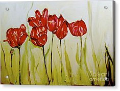 Hot Tulips Acrylic Print by Shelley Laffal