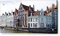 Houses Along A Canal, Bruges, West Acrylic Print