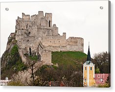 Acrylic Print featuring the photograph Hrad Beckov - Castle by Les Palenik