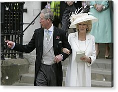 Hrh Prince Charles & Mrs Camilla Parker Bowles Marry At Guildhall Civil Cer Acrylic Print by Georges De Keerle