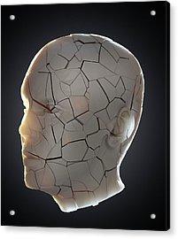 Human Head With Cracks Acrylic Print