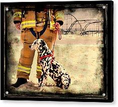 Hurricane Sandy Fireman And Dog Acrylic Print by Jessica Cirz