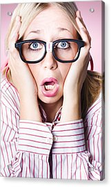 Hysterical Business Woman Having Panic Attack Acrylic Print