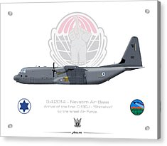 Acrylic Print featuring the drawing Isralei Air Force C-130j Shimshon by Amos Dor