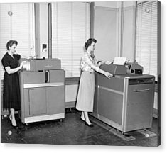 Ibm Punch Card Machines Acrylic Print by Underwood Archives