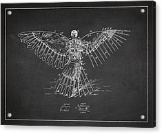 Icarus Flying Machine Patent Drawing Rear View Acrylic Print by Aged Pixel
