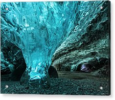 Ice Cave In The Glacier Acrylic Print by Martin Zwick
