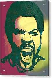 Ice Cube - Stylised Drawing Art Poster Acrylic Print by Kim Wang