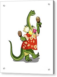 Illustration Of A Brontosaurus Playing Acrylic Print by Stocktrek Images