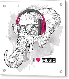 Illustration Of Elephant Hipster Acrylic Print by Sunny Whale