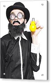 Inspiration Man Showing Light Bulb Creativity Acrylic Print by Jorgo Photography - Wall Art Gallery