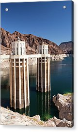 Intake Towers For The Hoover Dam Acrylic Print by Ashley Cooper