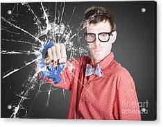 Intelligent Young Man With Good Idea Acrylic Print by Jorgo Photography - Wall Art Gallery