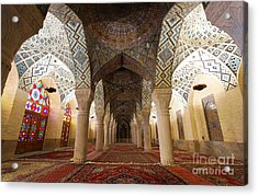 Interior Of The Winter Prayer Hall Of The Nazir Ul Mulk Mosque In Shiraz Iran Acrylic Print by Robert Preston