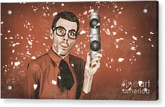Inventor Man Holding Beer Can Speakers At Party Acrylic Print by Jorgo Photography - Wall Art Gallery