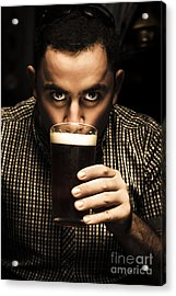 Irish Man Drinking Beer On St Patricks Day Acrylic Print
