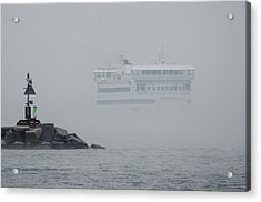 Island Home In Fog Acrylic Print