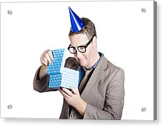 Isolated Businessman In Party Hat. Business Bonus Acrylic Print