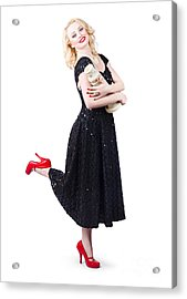 Isolated Full Length Woman On Europe Travel Trip  Acrylic Print by Jorgo Photography - Wall Art Gallery